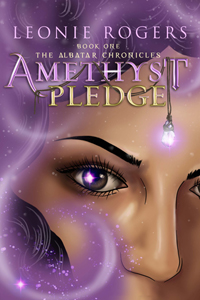Book Cover - Amethyst Pledge showing female face in swirls of Amethyst