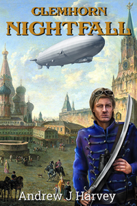 Book Cover - Donald Clemhorn standing in front of 1720 scene, with an airship overhead