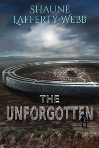 Book Cover - The Unforgotten showing an alien village on a distant planet