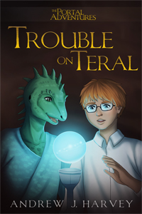Book Cover - Trouble on Teral showing Mark and Windracer in the Stone Garden